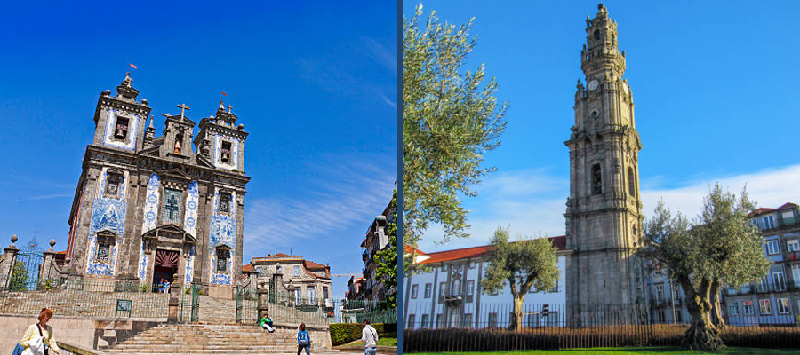 Fachadas de igrejas em Porto, Portugal