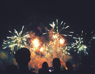 Queima de fogos no ano novo